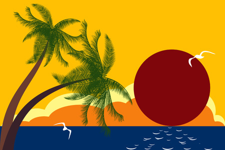 A vintage tropical island poster Stock Vector - 8642286