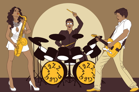 Background with jazz band on stage Vector