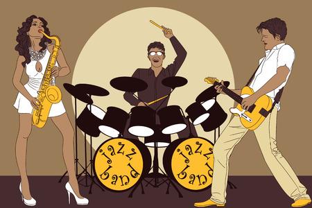 m�sico: Fondo con la banda de jazz en el escenario