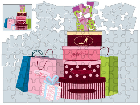 Jigsaw puzzle with shopping bags and gift boxes Vector