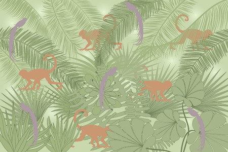 Background with tropical plants and the silhouettes of monkeys and parrots Vector