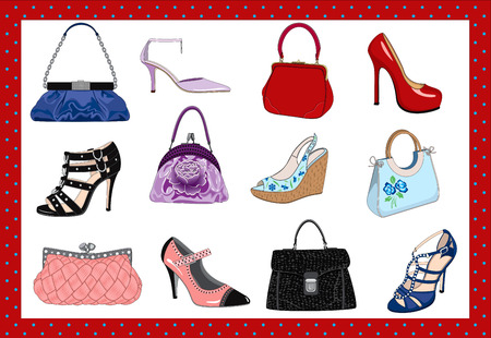 stilleto: Hand bags and shoes Illustration