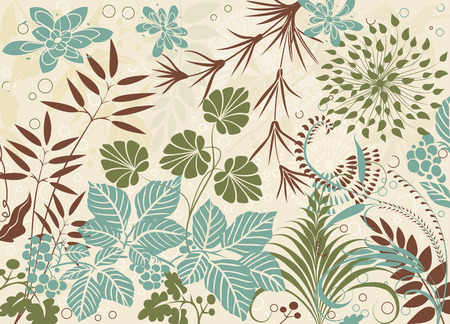 Various plants in retro style as a background Vector