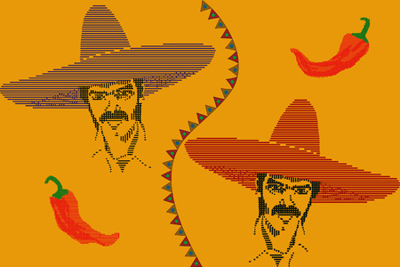 Seamless pattern with face of mexican man and hot peppers Vector