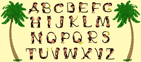 Alphabet of cheerful monkeys  Vector