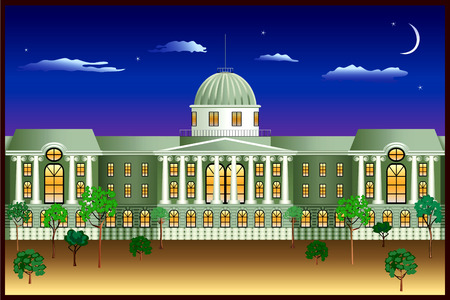 cupola: Night lights of the old big house Illustration