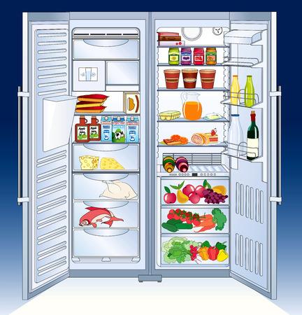 refrigerator with food: Refrigerator