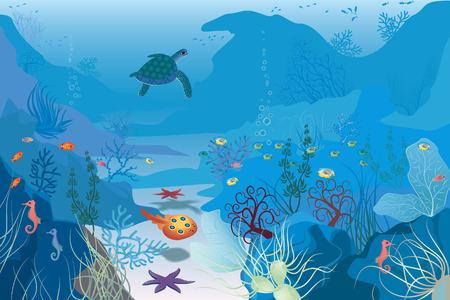 peces de agua salada: Paisaje marino Vectores