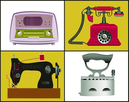 Vintage sewing machine, telephone, radio and iron  Vector