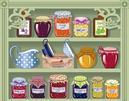 armarios: Estante con mermelada de conserva caseras
