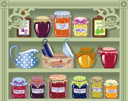 Shelf with home-made preserved jam Vector