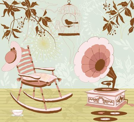 Het schommelen van-stoel, de gramophone en de kooi met een vogel op een veranda van een huis - retro stijl