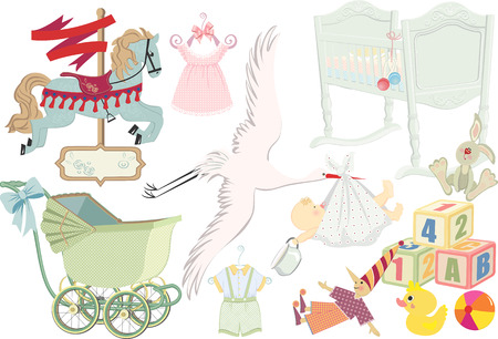 Retro collection of childhood items Vector