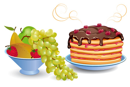 Pancakes and fruits Vector