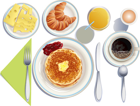 Vector illustration of fried pancakes with melted butter and strawberry jam, cup of coffee, glass of orange juice, plate with cheese and butter, plate with croissants, boiled egg,  knife, fork and teaspoon Vector