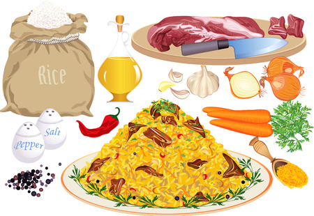 plate of food: Pilaf and pilaf ingredients: rice, meat, vegetable oil, onion, carrot, garlic, pepper, chilly pepper, salt, curcuma  Illustration