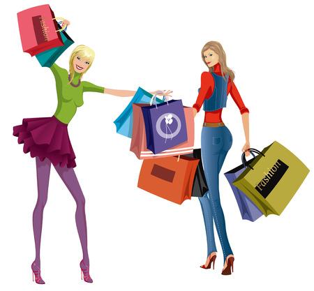 tacones: Dos hermosas mujeres jóvenes con bolsas de compra