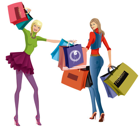 spring sale: Two beautiful young women with shopping bags