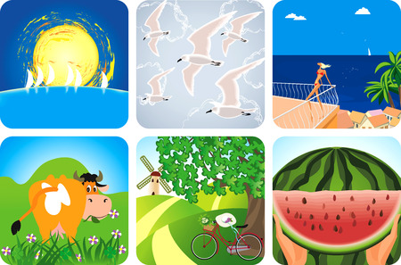 watermelon woman: Summer collection icons Illustration