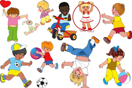 Vector illustration of playful children Vector