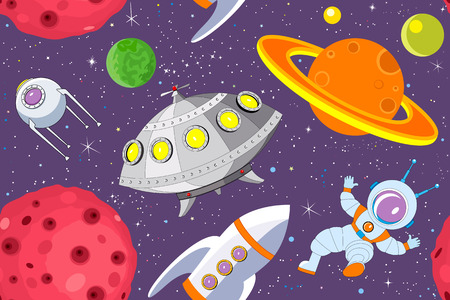 Cartoon background with ufo, rocket, astronaut, satellite and planets against the starry sky Vector
