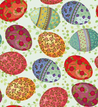 colored eggs: Seamless pattern with easter eggs painted with flowers - vector illustration Illustration