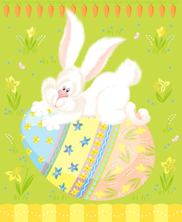 Vector illustration of cute white bunny on an easter egg Vector