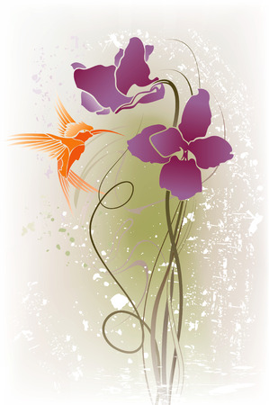iris flower: Vector illustration of purple flowers and flying orange bird on the grunge background