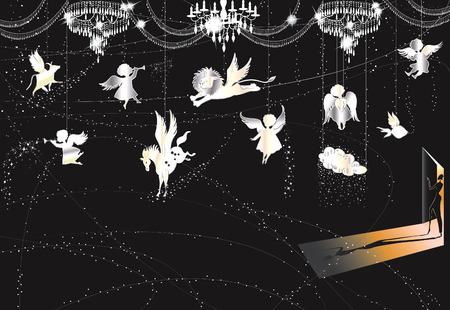 hanging woman: Illustrazione vettoriale di una stanza decorato per Natale