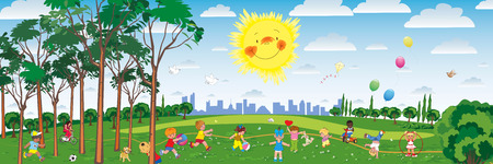 Illustrazione vettoriale di ragazzini giocare nel parco giochi