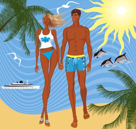 sun tan: Pareja en la playa - ilustraci�n vectorial