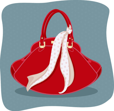 knotted: Vector illustration of handbag with knotted scarf