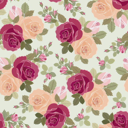 Vintage floral seamless pattern with roses Stock Vector - 8911304