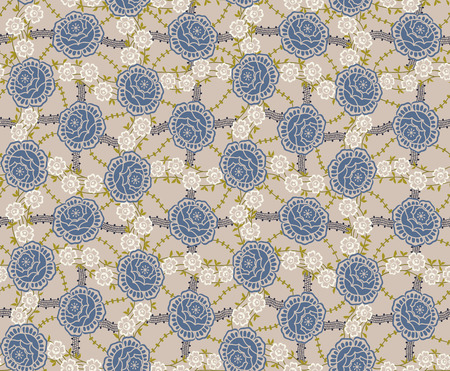 Floral seamless pattern with blue roses Vector