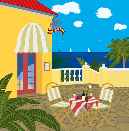 mediterranean houses: Restaurant by the sea  Illustration