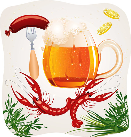 draught: Mug of cold foamy beer with crayfishes and fork with a hot dog