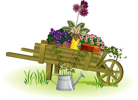 Woden tuin kruiwagen met ingemaakte bloemen en gieter met zaailingen ernaast