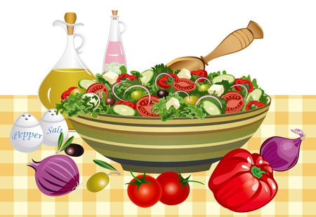 cucumber salad: Saludable comer ensalada griega Vectores