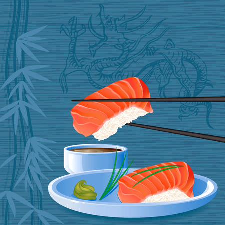 sushi: Zalm nigiri sake sushi Stock Illustratie