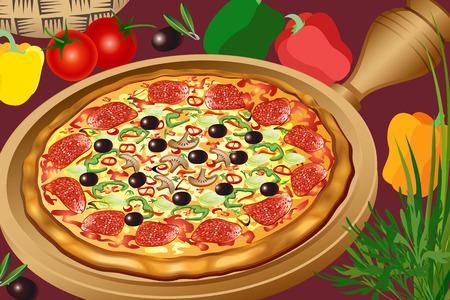 pepperoni: Pizza hot Illustration