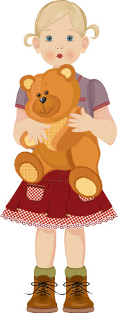 plush toy: Cute little girl with teddy bear