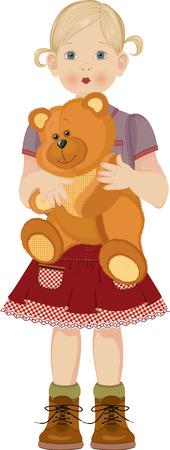 Niña linda con el oso de peluche
