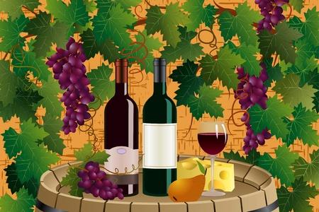 Composición con botellas de vino, wineglass, queso, uvas y peras en un barril de madera sobre el fondo con uva vid Ilustración de vector