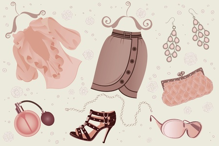 Collection of women fashion objects Vector