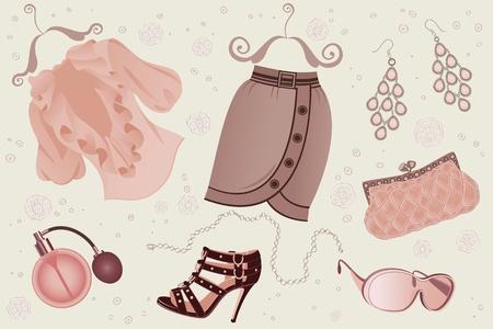 hanging woman: Insieme di oggetti di moda donna