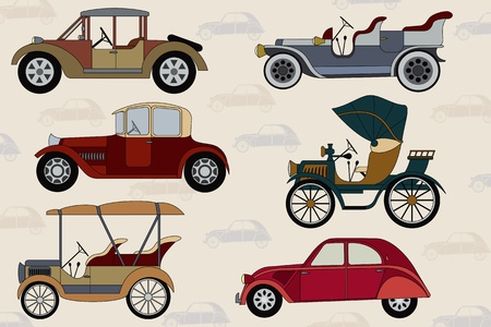 oude autos: Background with cartoon vintage cars