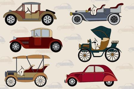 Arrière-plan avec voitures anciennes cartoon