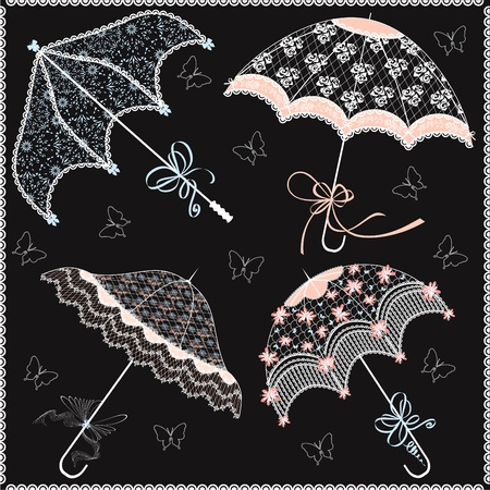 bridal shower: Collection of vintage lace parasols on a black background Illustration