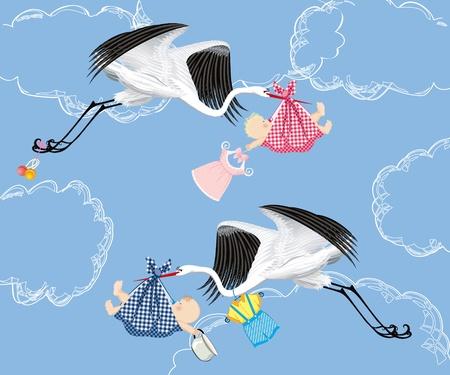 cigueña: Bebé entrega de cigüeña Vectores