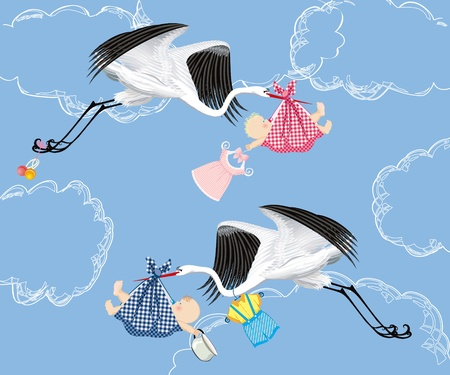 stork: Stork delivering baby Illustration